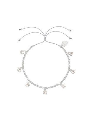 Silver CZ Circle Charm Bracelet EB