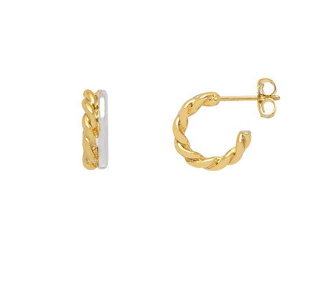 Silver & Gold Rope Stud Hoops EB