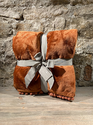 Burnt Orange Soft Touch Throw With Pom Pom Edge