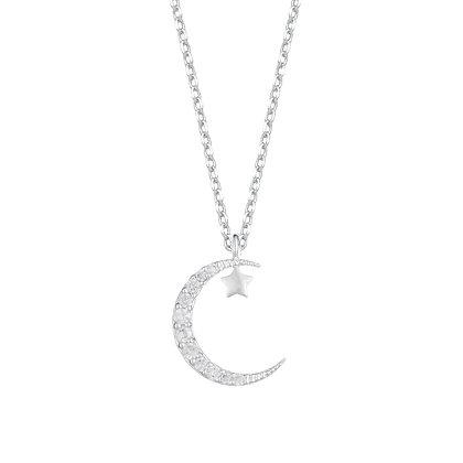 Silver CZ Moon & Star Necklace EB