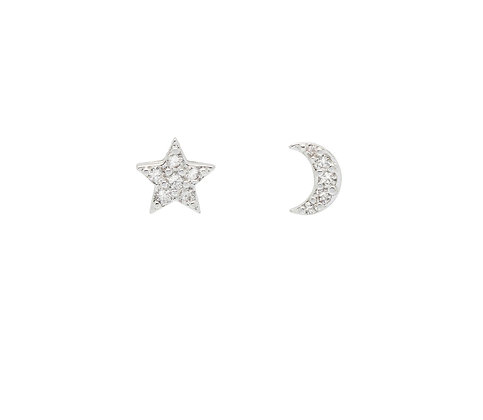 CZ Star & Moon Stud Earings EB