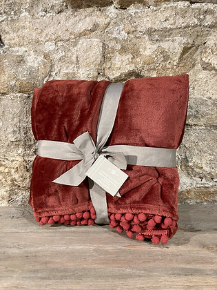 Burnt Red Touch Throw With Pom Pom Edge
