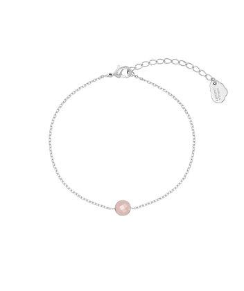 Silver Pink Chalcedony Gemstone Bracelet EB