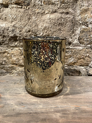 Gold Distressed Glass Hurricane