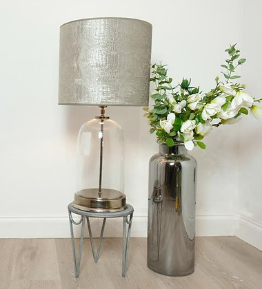 Glass Lamp With Croc Velvet Shade