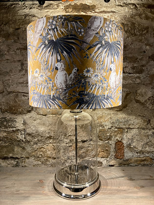 Glass & Nickel Lamp With Ochre Patterned Shade