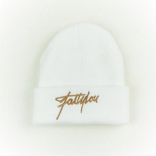 FattyLou Signature Beanie - White