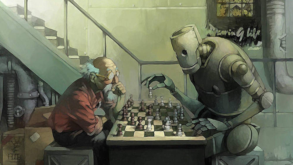 A Robot and a Human playing Chess