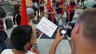 Dreh Demo gegen Abschiebung am Flughafen München