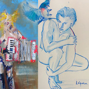 Triptych: Golden Lorenzo, Blue Lorenzo
