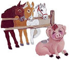 Sally the Sad Sow explains whay she is sad to Hank, Molly and Harry the Horse