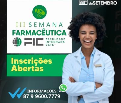 Inscrições Abertas e Programação - III Semana Farmacêutica FIC