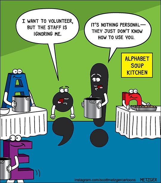 Scott Metzger punctuation cartoon