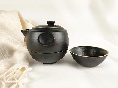 Japanese stoneware tea set-Black