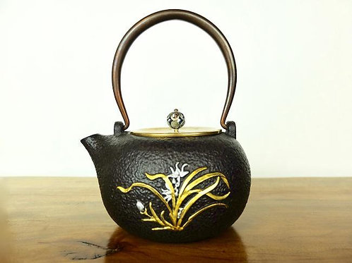 Japanese Iron Teapot with Orchid Flowers
