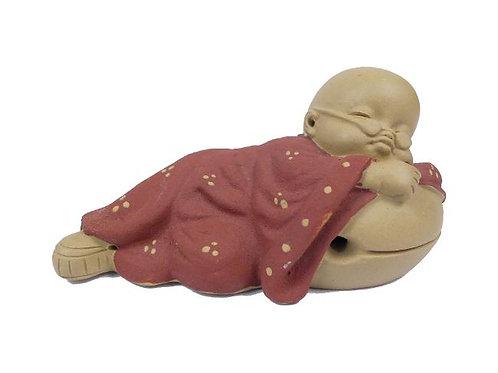Tea Pet Little Monk Napping on Zen Drum