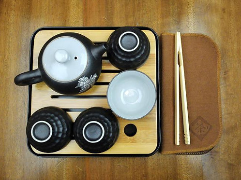 Maple Leaf Travel Set and Teapot Without the Wooden Tray