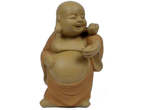 Tea Pet Joyful Buddha with Gold on Shoulder Bring Prosperity
