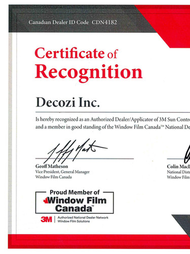 3M Certificate of Recognition for DECOZI
