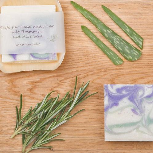 Seife für Haut und Haar mit Rosmarin und Aloe Vera