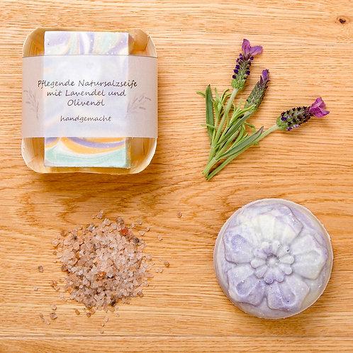 Natursalzseife mit Lavendel und Olivenöl