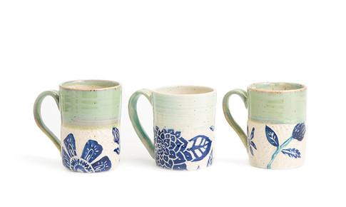 Straight sided Blue and Green Hand Carved mugs