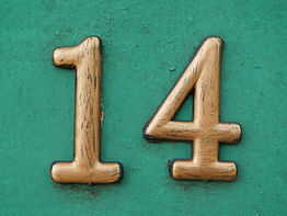 House number fourteen. Yellow number fou