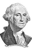 Gravure of George Washington in front of