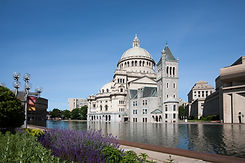 The Mother Church, The First Church of Christ, Scientist, in Boston, MA across the Reflecting Pond.
