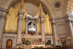 Interior of The Mother Church, The First Church of Christ, Scientist, Boston, MA with its magnificent organ and pipes.