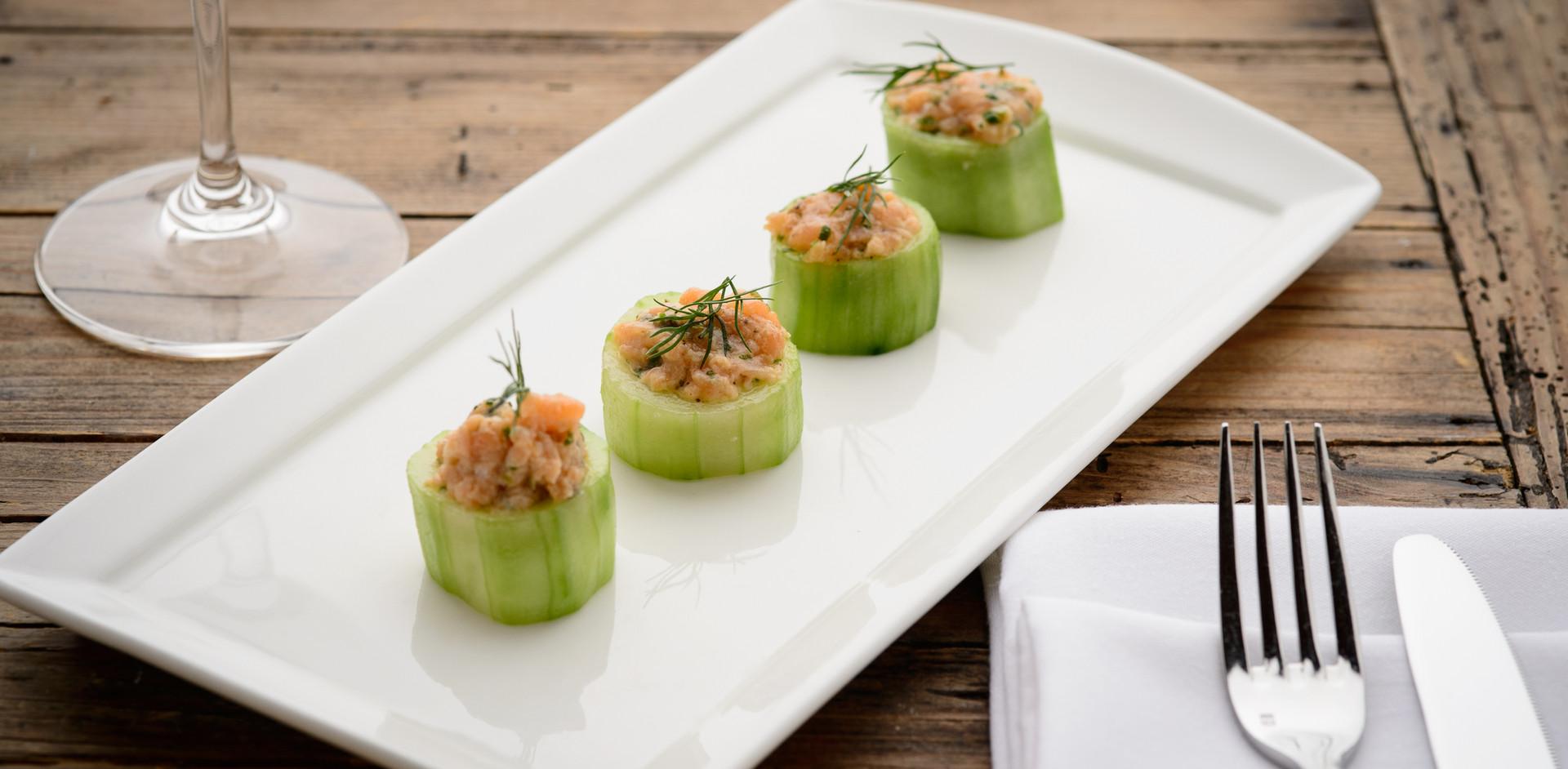 Salmon Tartare in Cucumber Cups
