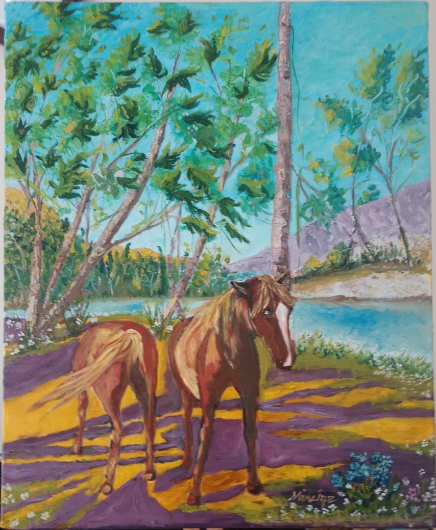 Mor gölgeli Atlar 50X70 M.K.Aytekin