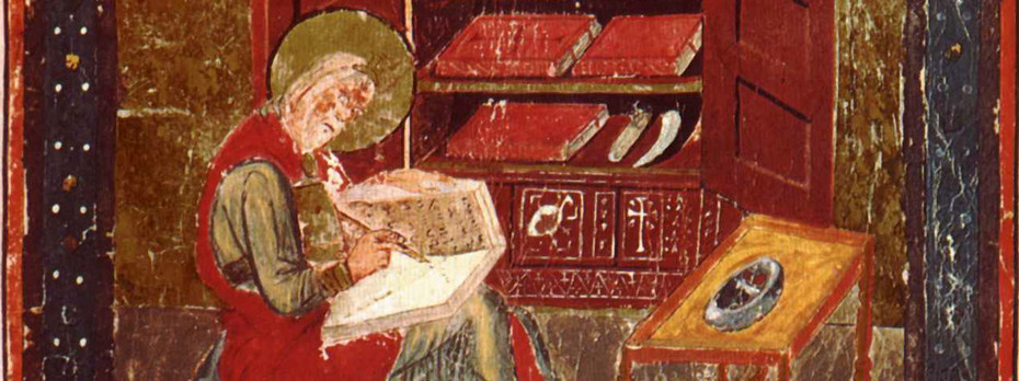 A painting of The Venerable Bede writing in a book