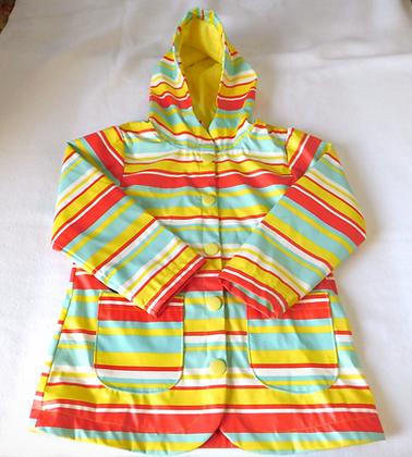 Multicolored Striped Raincoat