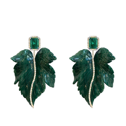 Brinco Folha Jade Africana e Esmeralda