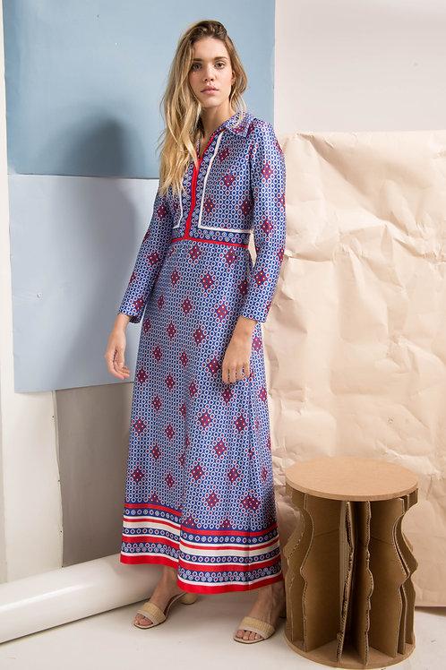 Vestido Emilia manga longa azul e vermelho