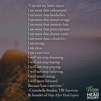 """I am not my brain injury."" - Poem by Cristabelle Braden"