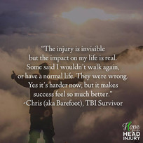 """""""The injury is invisible but the impact on my life is real."""" - Barefoot's Survivor Sto"""