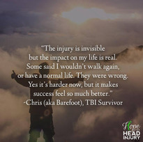 """The injury is invisible but the impact on my life is real."" - Barefoot's Survivor Sto"