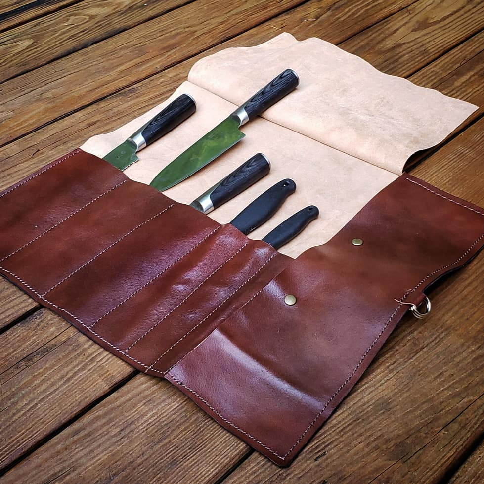5 knife roll perfect for SCA camping