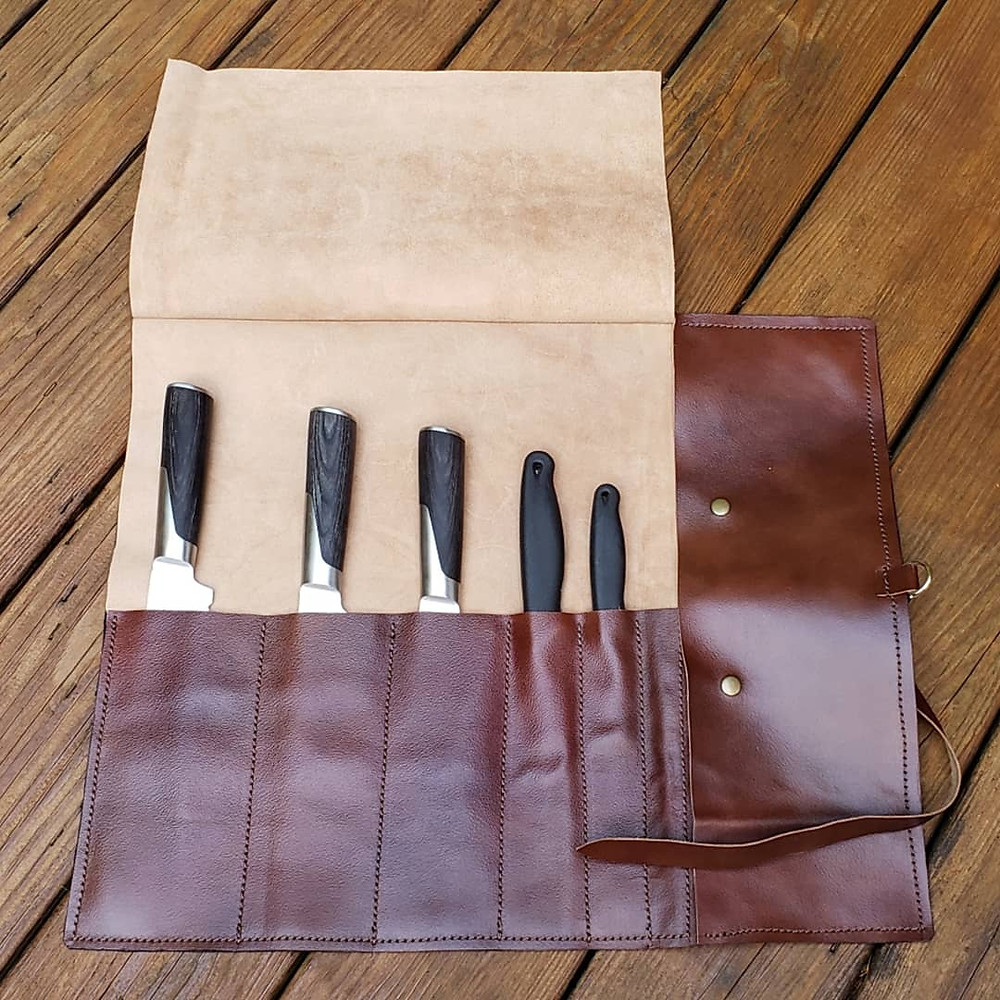 Leather Geek finished leather knife roll