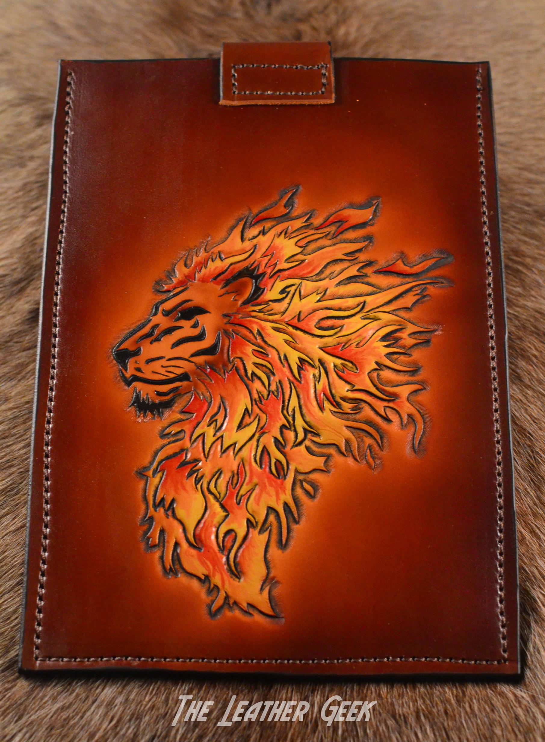 Tribal flames lion tablet case