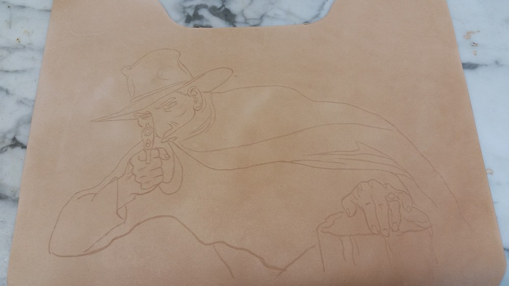 The Shadow sketched onto leather