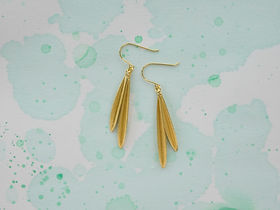 olive earrings with two leaves