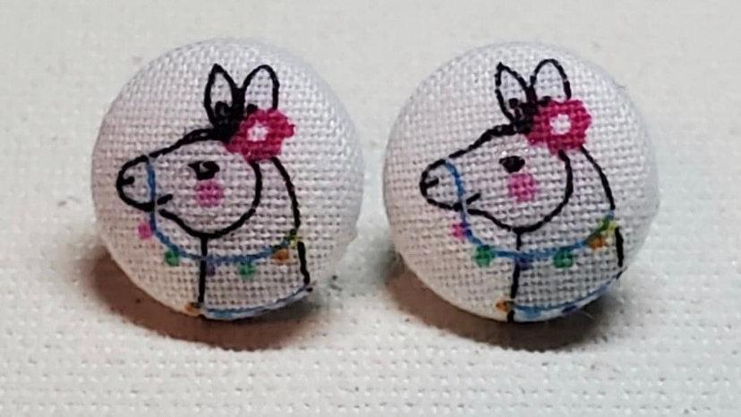 Llama Button Earrings