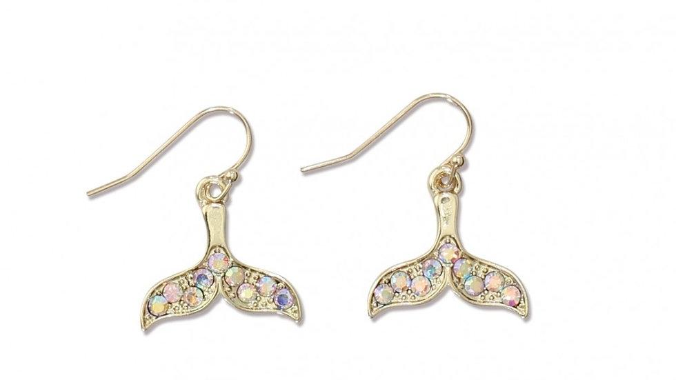 Mermaid Tail Earrings w/Crystals