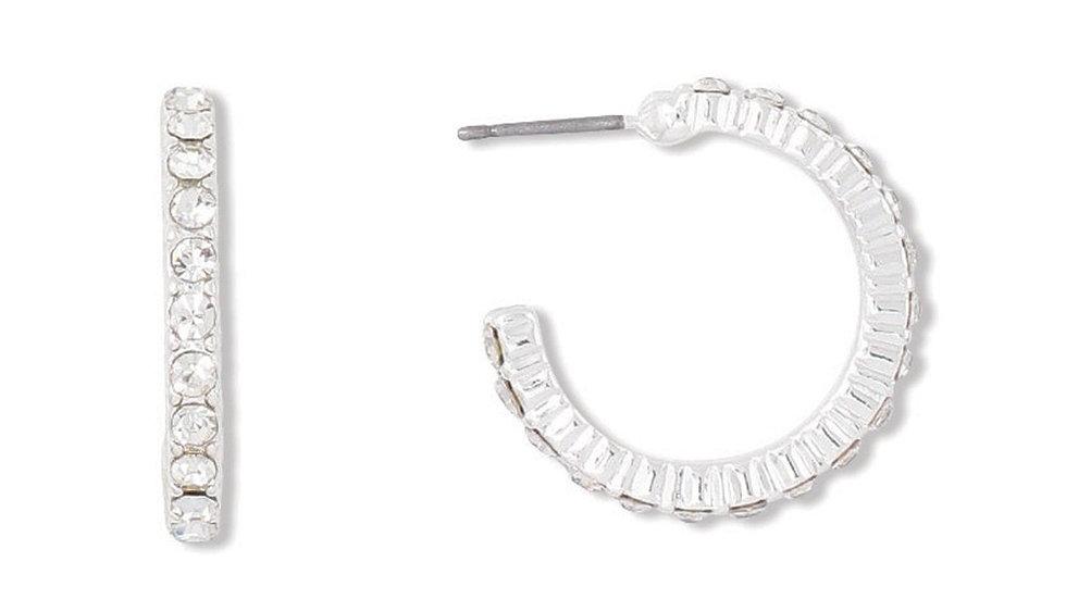 Silver Hoop Earrings w/Crystals