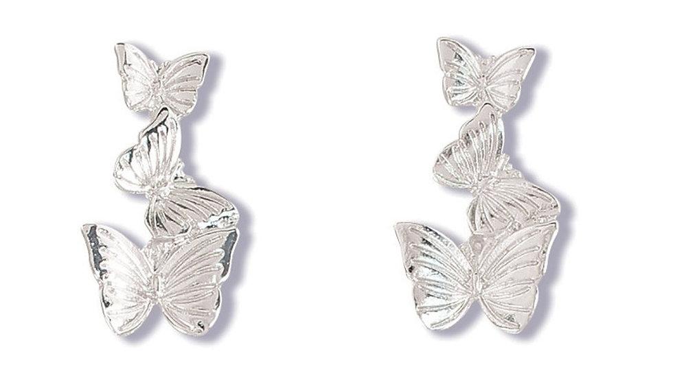 Silver Butterflies Studs