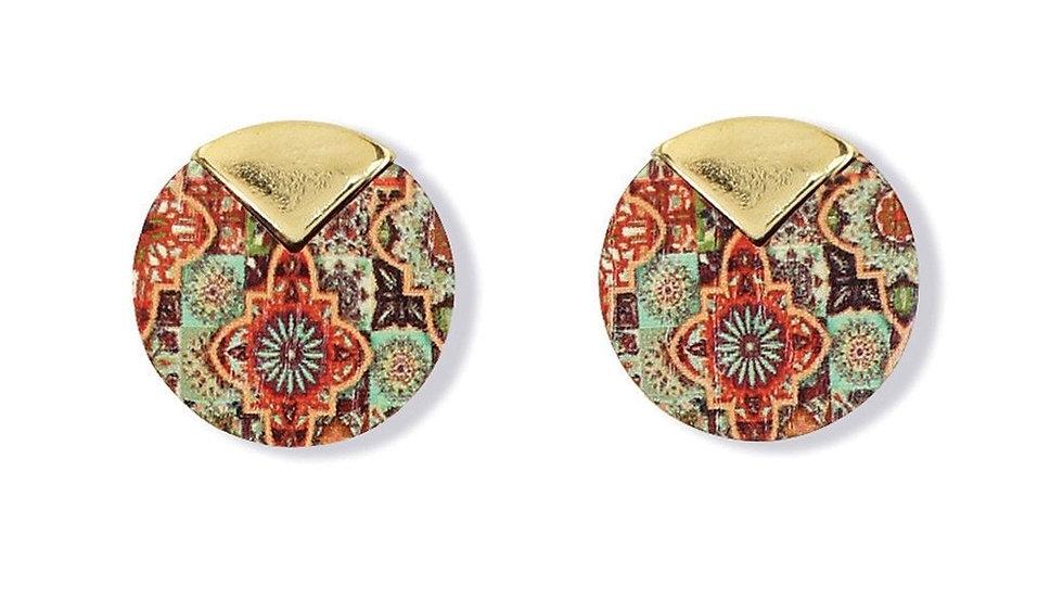 Multi Color Disc Stud Earrings