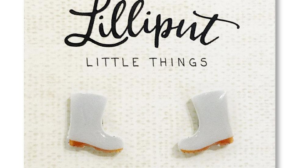 White Shrimp Boot Earrings